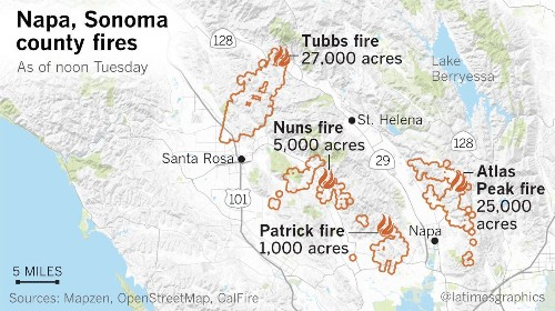 Death toll from Northern California fires jumps to 31; names of 10 victims released - Los Angeles Times