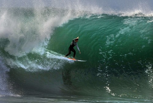 Huge waves challenge Southern California surfers, lifeguards
