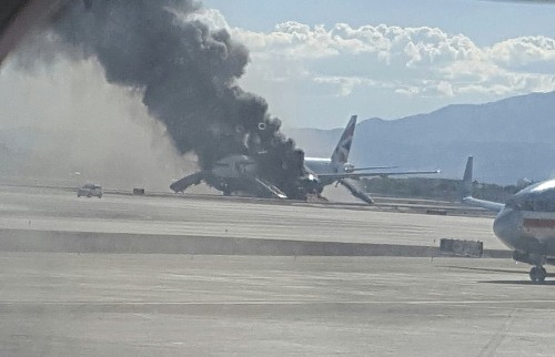 Plane catches fire on takeoff at Las Vegas airport - Los Angeles Times