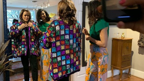 On the campaign trail, Kamala Harris tries on a sequined jacket, and men go nuts
