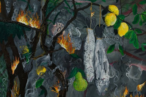 Review: In Morgan Mandalay's new paintings, life carries on as Eden burns