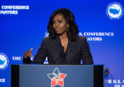 Michelle Obama urges mayors to remove 'stain' of veteran homelessness and praises L.A. efforts