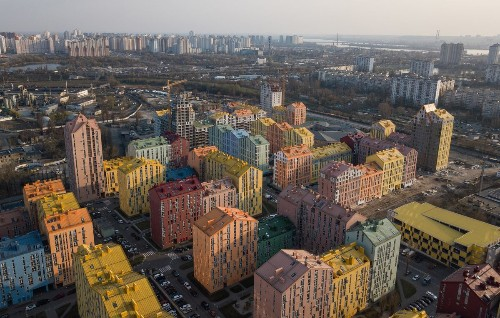 Soviet housing was famously drab. This Ukraine complex is all about color