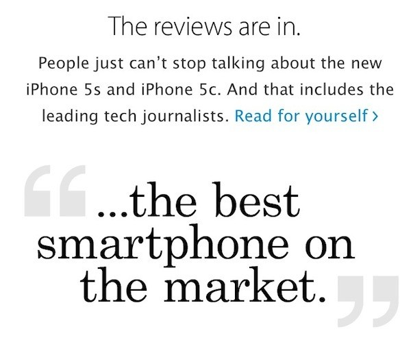 Apple Highlighting iPhone 5s and iPhone 5c Reviews by Tech and Mainstream Press
