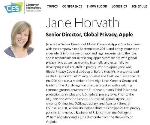 Apple Privacy Director Jane Horvath to Speak at CES in Consumer Privacy Roundtable
