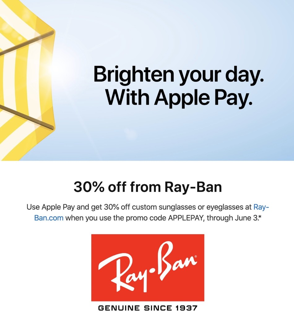 Apple Pay Promo Offers 30% Discount From Ray-Ban