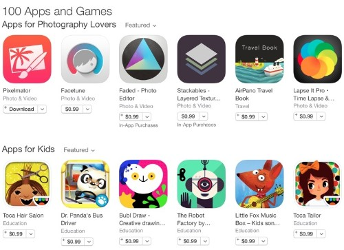 App Store Promotion Offers 100 Apps and Games at a Discount
