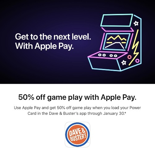 Apple Pay Promo Offers 50% Off Game Play at Dave Buster's