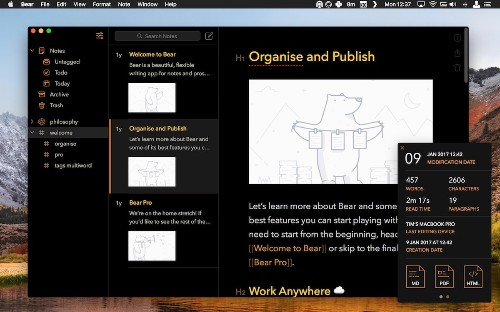 Bear Notes 1.5 Gains Archive Feature, Custom Tag Icons, New Export Options, and More