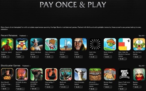 Apple Promotes Games Without In-App Purchases in App Store