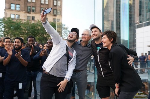 Apple CEO Tim Cook Visits Fifth Avenue Store as iPhone 11 Launch Day Continues Around the World