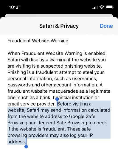 Apple Sending User Data to Chinese Company for Fraudulent Website Warnings in Safari