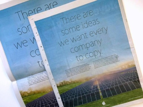 Apple Takes Jab at Samsung in Full Page Earth Day Newspaper Ad