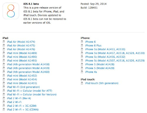 Apple Seeds First iOS 8.1 Beta to Developers