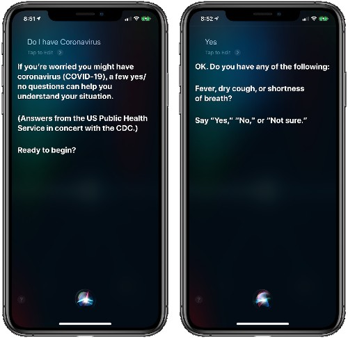 Siri Now Provides Coronavirus Advice From CDC and U.S. Public Health Service