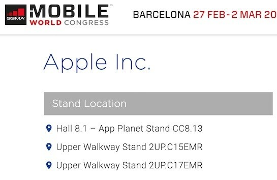 Apple Listed as 2017 Exhibitor at Mobile World Congress [Updated x2]