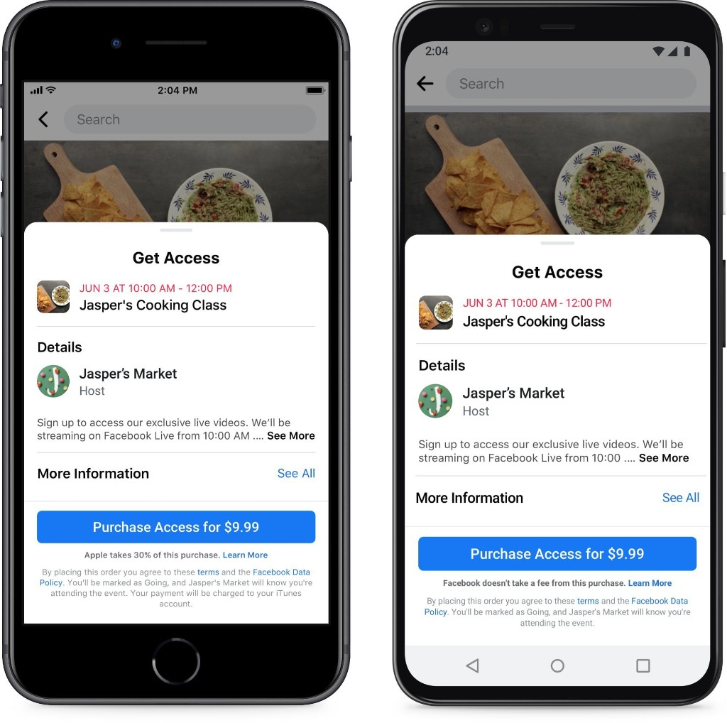 Facebook Claims Apple is Damaging Small Businesses by Collecting Fees From Paid Facebook Events