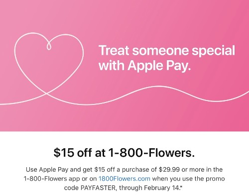 Ahead of Valentine's Day, Apple Pay Promo Offers $15 Off 1-800-Flowers Purchases