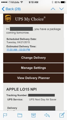 UPS Tracking Numbers Start Trickling Out to Apple Watch Customers