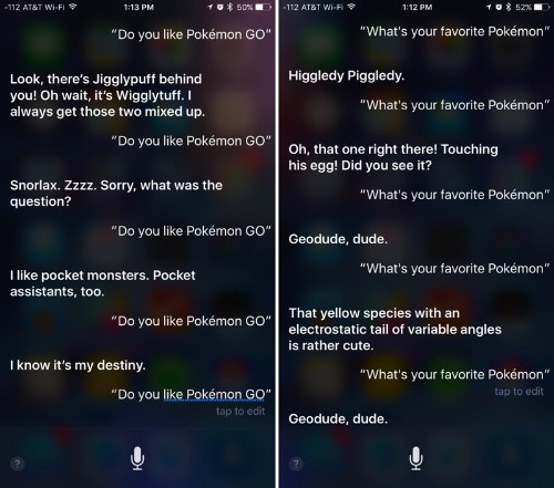 Siri Offers Humorous Responses to Questions About Hit Game Pokémon Go