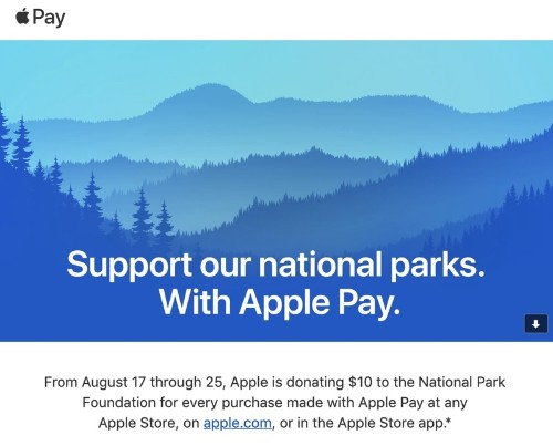 Apple Donating $10 to National Park Foundation for Every Apple Store Apple Pay Purchase From August 17 to 25