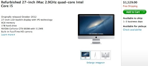 Apple Online Store Now Offering Refurbished Current-Generation 27-Inch iMac Models