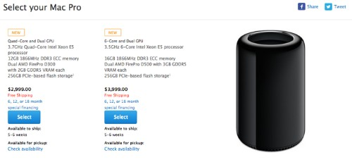 Apple's Mac Pro Shipping Estimates in U.S. Move to 5-6 Weeks