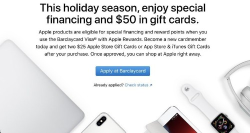 Apple and Barclays Offering $50 Gift Card Bonus for New Customers Who Sign Up for a Barclaycard Visa With Apple Rewards