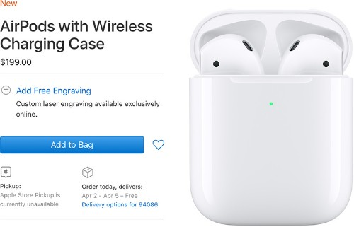 AirPods With Wireless Charging Case Delivery Date Slips to April