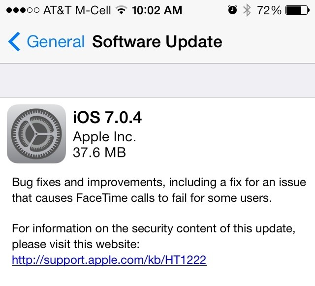 Apple Releases iOS 7.0.4 With Fix for FaceTime Call Issue