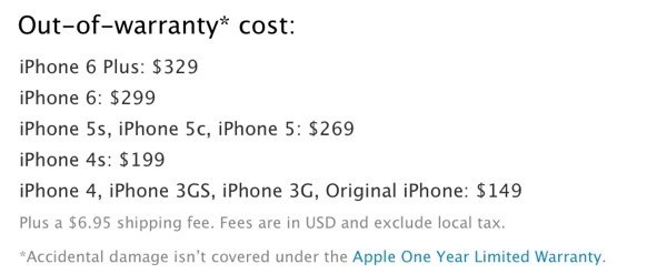 iPhone 6 and 6 Plus Out-Of-Warranty Repairs Cost Up to $299/$329