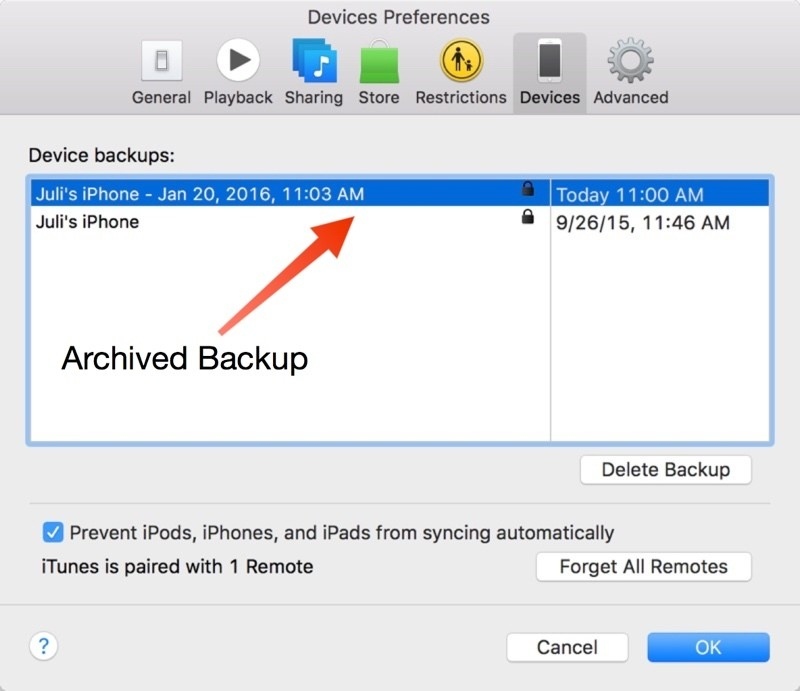 How to Create an Archived iTunes Backup