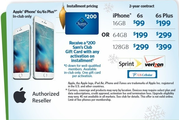 Sam's Club Announces Holiday Savings Event With iPhone 6s and iPad Air 2 Deals