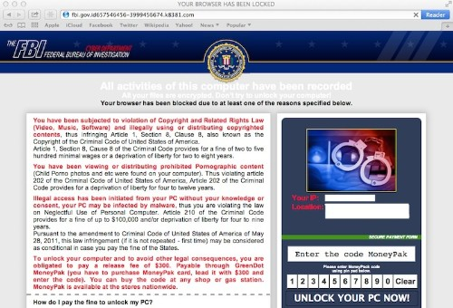OS X Users Hit by Ransomware Websites Posing as FBI Notices