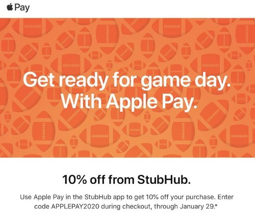Apple Pay Promo Offers 10% Off StubHub Purchase