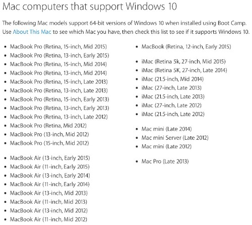Apple Updates Boot Camp With Windows 10 Support