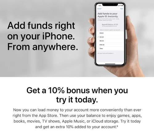 Apple Offering 10% Bonus When Adding Funds to Your Account for App Store and iTunes Purchases