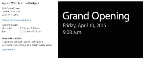 Apple Announces April 10 Grand Openings for Apple Watch Shops in London, Paris, and Tokyo