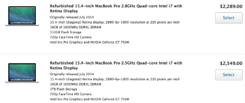 Refurbished 2014 15-Inch Retina MacBook Pro Now Available in Apple's Online Store