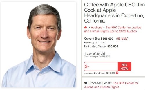 Tim Cook Coffee Auction Closes Tomorrow, Current High Bid at $605,000