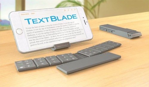 Collapsible 'TextBlade' Keyboard for iOS Devices Uses Just Eight Smart MultiTouch Keys