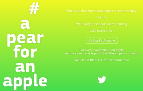 Samsung Belgium Donating a Pear for Each Tweet About an Apple