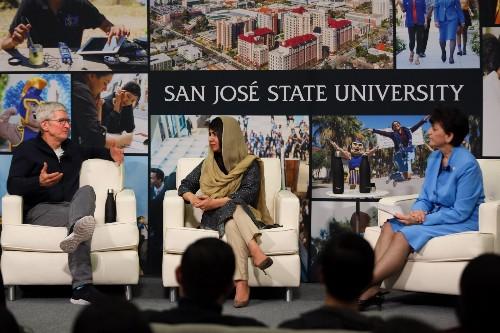 Apple CEO Tim Cook Joins Malala Yousafzai to Discuss Education at SJSU