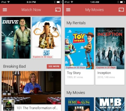 Google Launches 'Google Play Movies & TV' App, iOS Chromecast Users Gain Alternative to iTunes