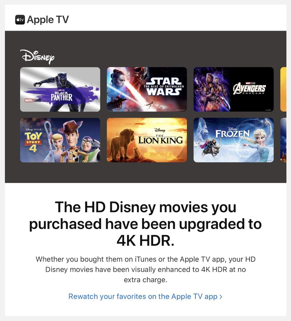 Apple Upgrading iTunes Disney Movie Purchases to 4K HDR