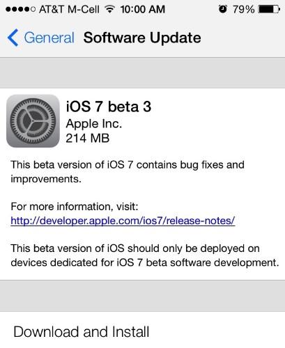 Apple Seeds iOS 7 Beta 3 to Developers