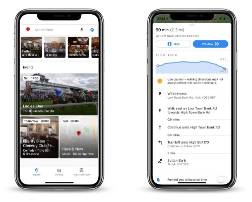 Google Maps App Updated With New Events Section and Elevation Data for Walking and Cycling Routes
