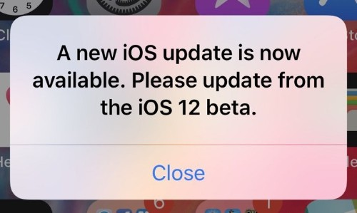 iOS 12 Users Running Current Beta Plagued With Popup Prompting an Update