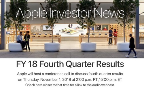 Apple to Announce Q4 2018 Earnings on November 1