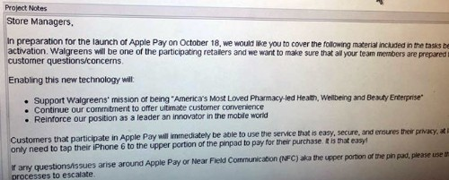 Walgreens Planning for October 18 Apple Pay Launch